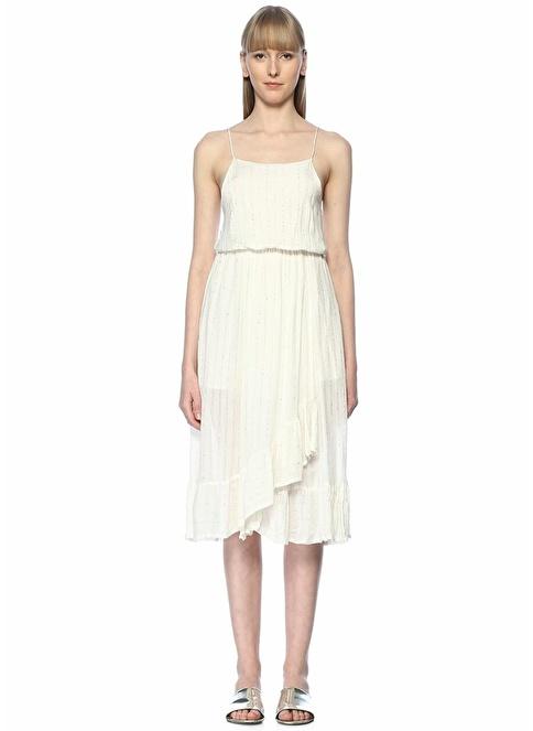 Sundress İnce Askılı Midi Elbise Ekru